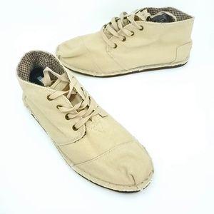 Toms Mens Tan Burlap boots Lace up